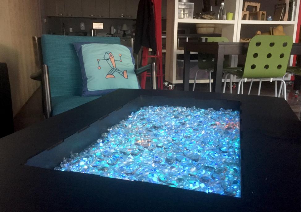 closeup of IoT coffee table