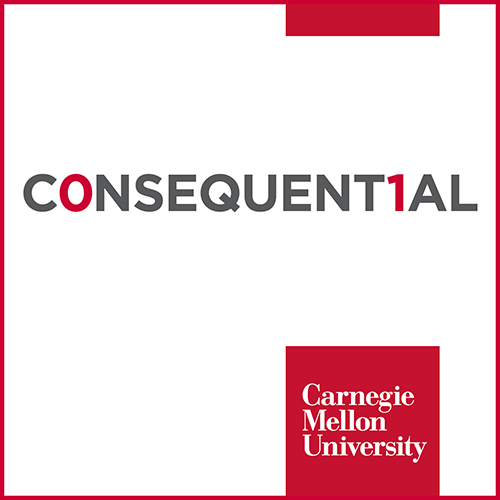 the white square Consequential podcast logo, Carnegie Mellon University
