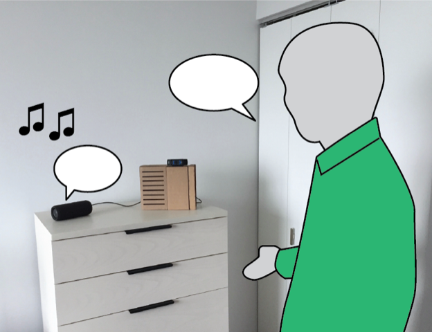 silhouette of a man in a green shirt standing beside DJ bot, which sits on top of a dresser in his home