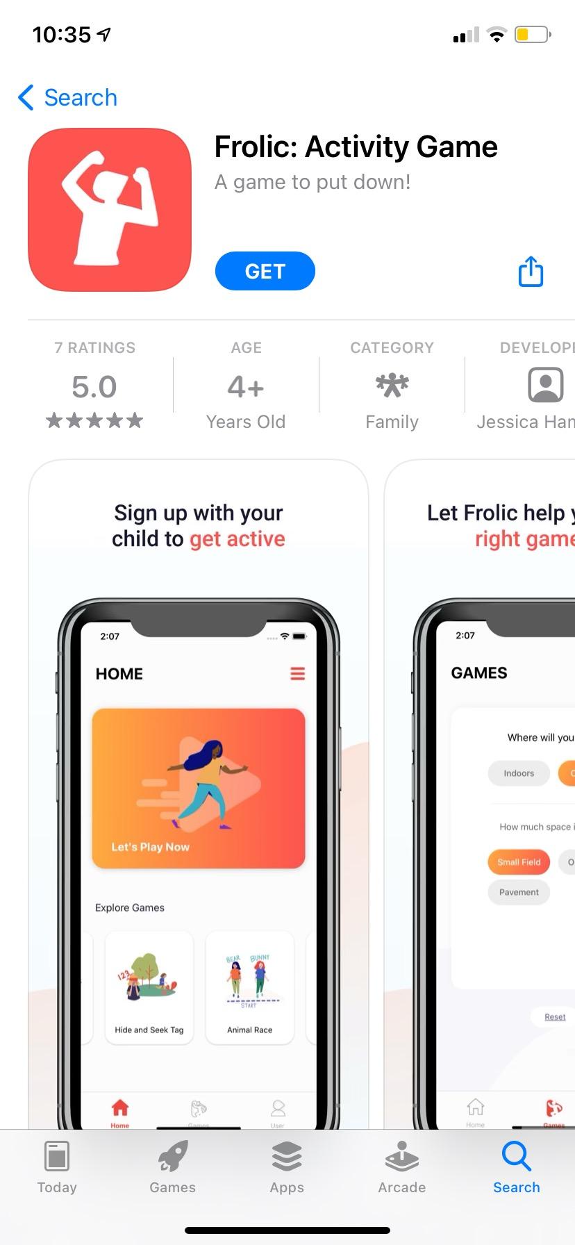 screenshot of the Frolic app in the App Store