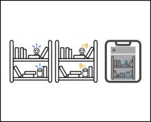 3 side by side drawings of a bookshelf, where the IoT devices are circled