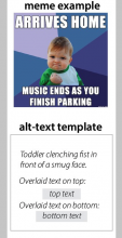 example of meme with text overlay - toddler clenches fist in front of a smug face
