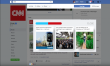 Facebook display with three stories
