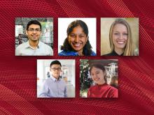 Five SCS students named Siegel Scholars for 2022, 5 headshots on a red plaid background